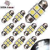 "YITAMOTOR 10 X Festoon 27 28mm 1.10"" 5050 4SMD Dome Map White LED Light Bulbs DE3022 3528"