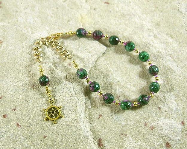 Amazon Tyche Fortuna Prayer Bead Bracelet In Ruby Zoisite