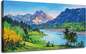 "Ardemy Canvas Wall Art Nature Mountain Blue Stream Scenery Painting, Landscape Green Teal Panoramic Picture Artwork Framed for Home Office Living Room Bedroom Wall Decor One Panel 40""x20"""