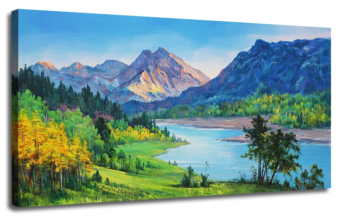 Ardemy Canvas Wall Art Nature Mountain Blue Stream Scenery Painting Artwork Landscape Green Teal Panoramic Picture Artwork Framed For Home Office
