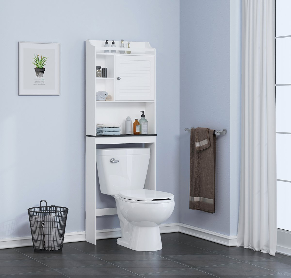 Spirich Home Bathroom Shelf over the toilet, Bathroom Cabinet Organizer over toilet with Louver Door, White Finish by Spirich Home (Image #7)