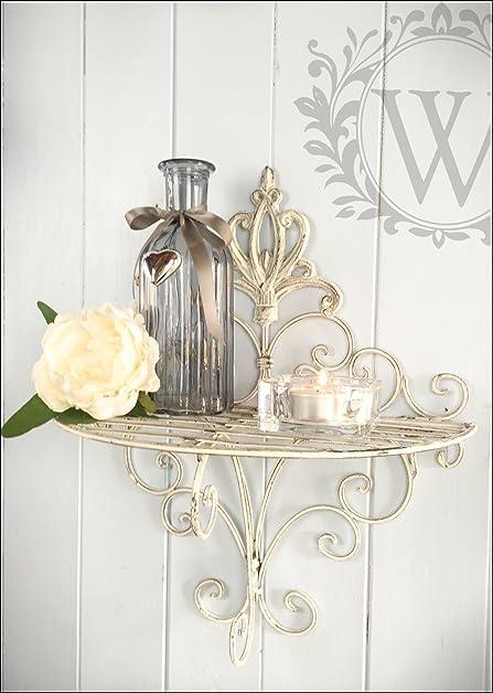 Shabby Chic Single Distressed Cream Metal Scroll Shelf, Distressed Hanging Storage  Unit By London Ornaments