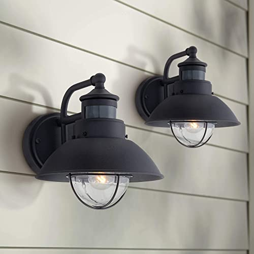 Oberlin Mission Farmhouse Outdoor Barn Light Fixtures Set of 2 Black 9″ Clear Seedy Glass Dusk to Dawn Motion Sensor