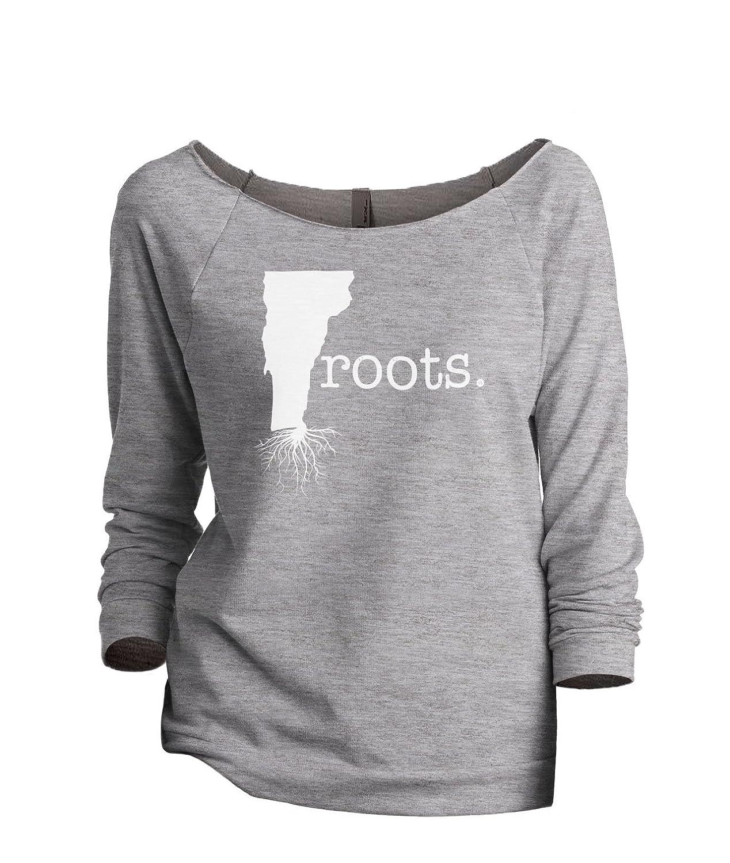 Thread Tank Home Roots State Vermont VT Women's Slouchy 3/4 Sleeves Raglan Sweatshirt Sport Grey