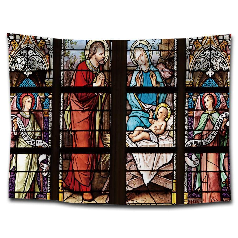 kaige Tapestry Church Window Picture Printing Tapestry Hanging Cloth Polyester Background Cloth Tapestry Beach Towel Tablecloth