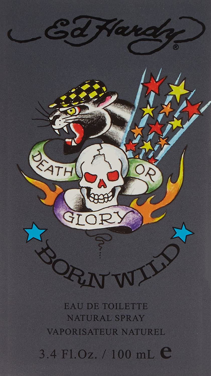 Ed Hardy Born Wild Eau De Toilette Spray for Men, 3.4 Ounce