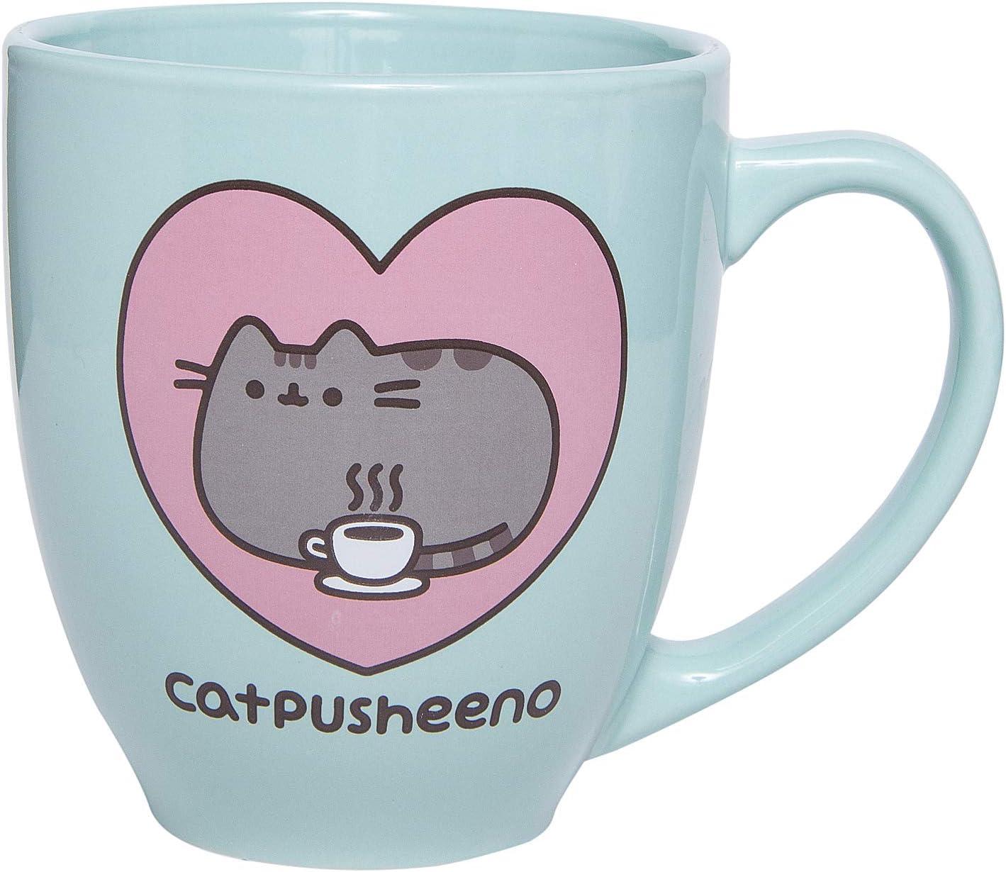 Pusheen Cat 18 oz Mug - Heart Catpusheeno Cup (Mint)