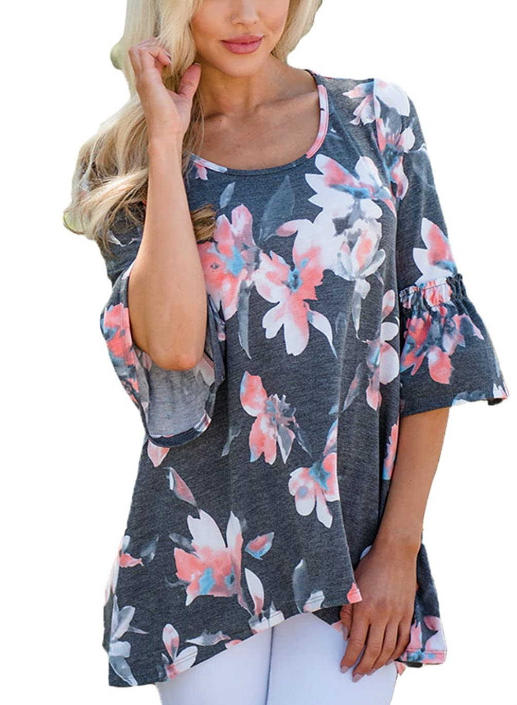 Charcoal HUUSA Womens Summer Casual Floral 3 4 Round Neck Ruffle Sleeve Loose Blouse Top