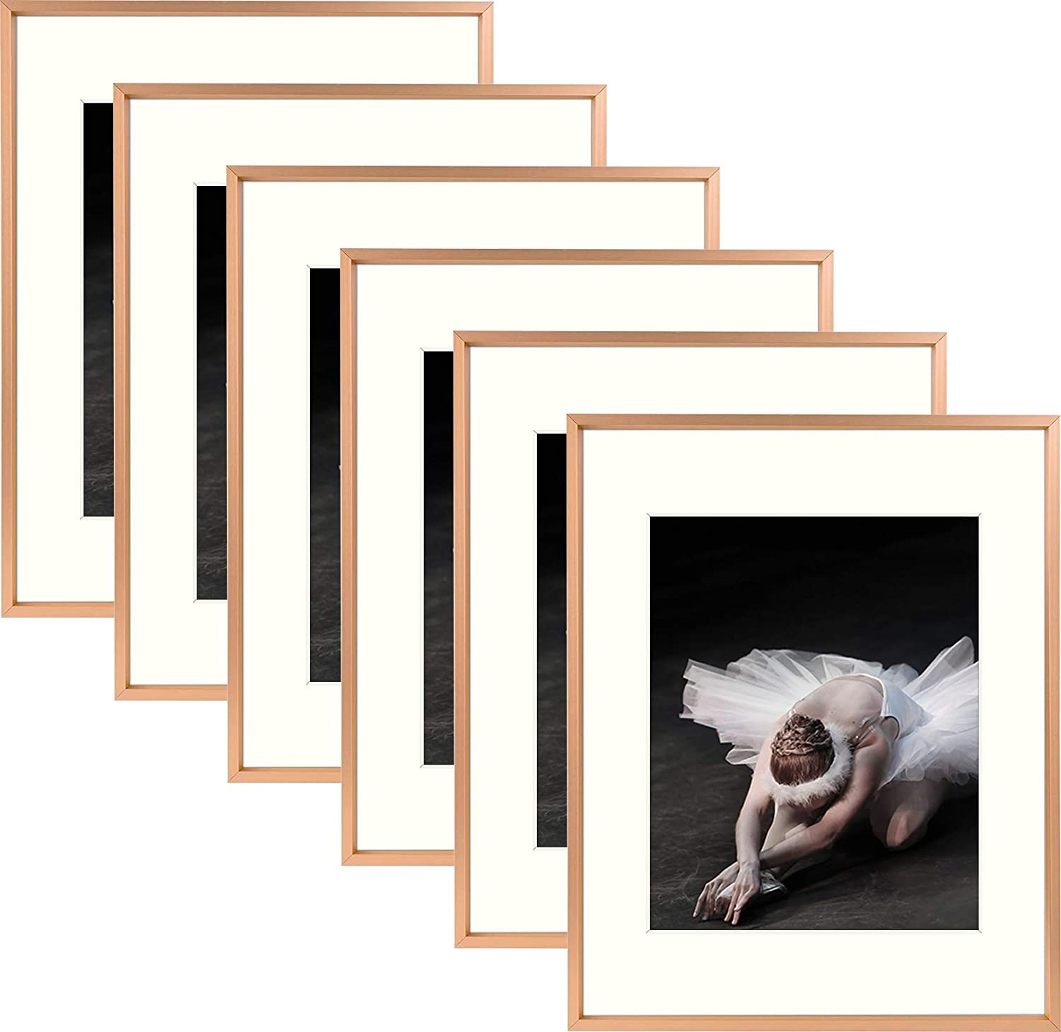 Rose Gold 11x14 Aluminum Rose Gold Photo Frame with Ivory Color Mat for 8x10 Picture /& Real Glass Metal Picture Frame Collection Frametory