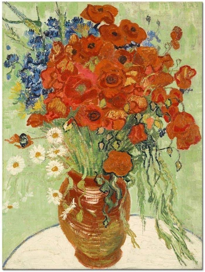 TYLPK Cuadro en Lienzo Flores Rojas Margaritas Ilustraciones clásicas de Van Gogh en Lienzo Arte de Pared para Decoraciones de Oficina en el hogar 50x60 cm (19.7x23.6 Pulgadas) Sin Marco