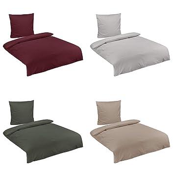 Baumwolle Biber Uni Bettwäsche Mit Reißverschluss In 3 Größen Und 4