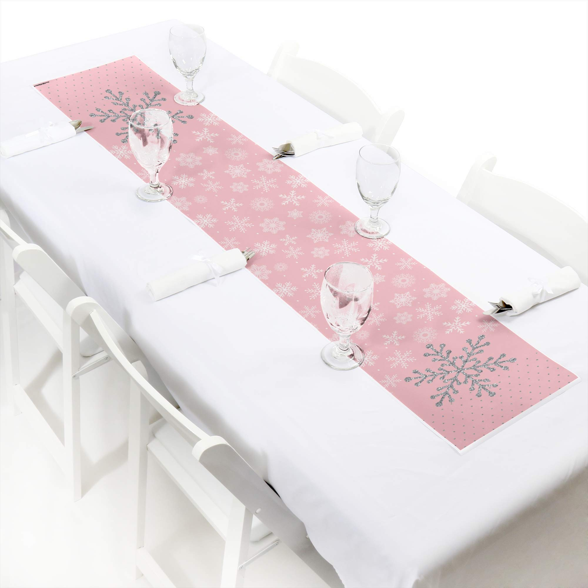 Big Dot of Happiness Pink Winter Wonderland - Petite Holiday Snowflake Birthday Party or Baby Shower Paper Table Runner - 12 x 60 inches by Big Dot of Happiness