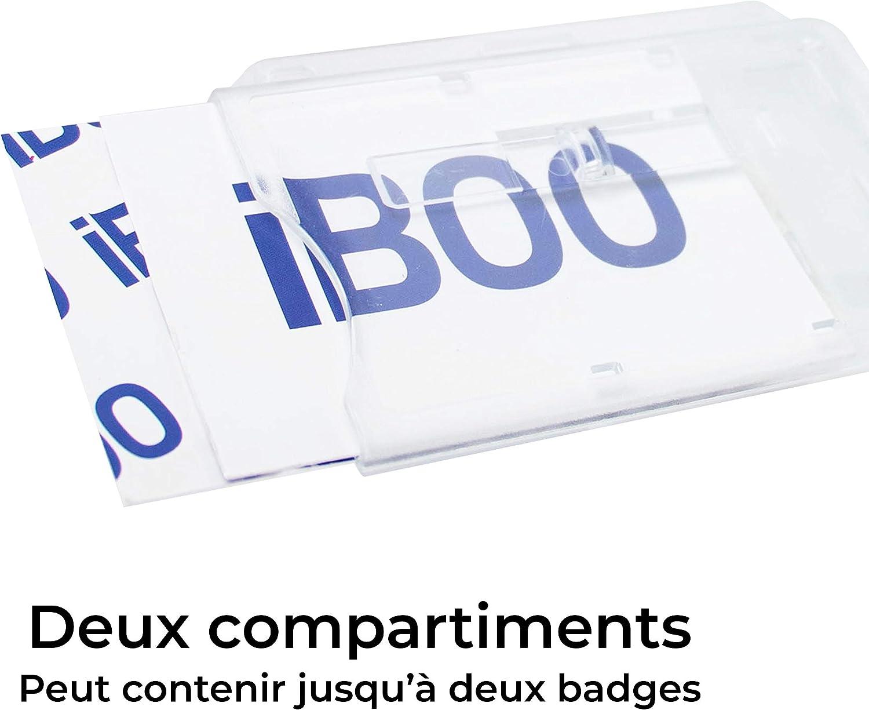 Porta carte di sicurezza con attacco a clip per 2 carte Formato 54 x 86 mm Custodia rigida Chiusa Trasparente con o senza porta badge 3