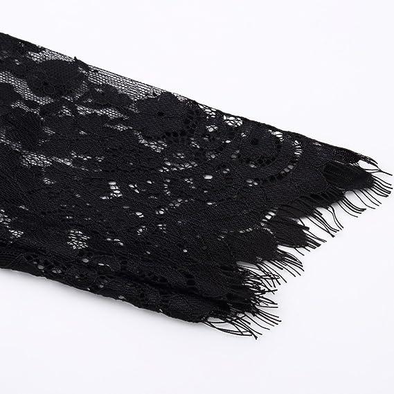 336d68280b7a JapanAttitude Longue Robe en Dentelle Noire Transparente