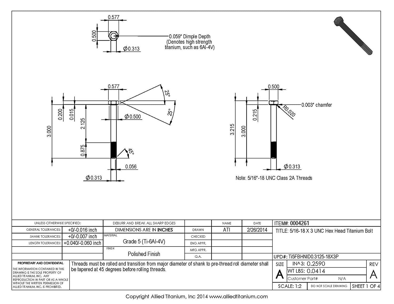 5//16-18 X 3 UNC Titanium Hex Head Bolt 610287004 Inc Ti-6Al-4V Allied Titanium 0004261, Grade 5 Pack of 4