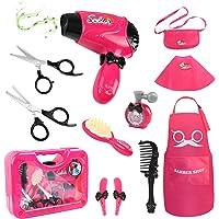 Hapgo Girls Beauty Salon Set Pretend Play Stylist Hair Cutting Kit Hairdresser Toys with Hair Dryer, Scissors, Barber…
