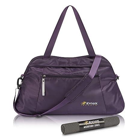 EVIoX - Bolsa de Deporte para Mujer, Incluye Toalla de Microfibra para Deportes, Bolsa