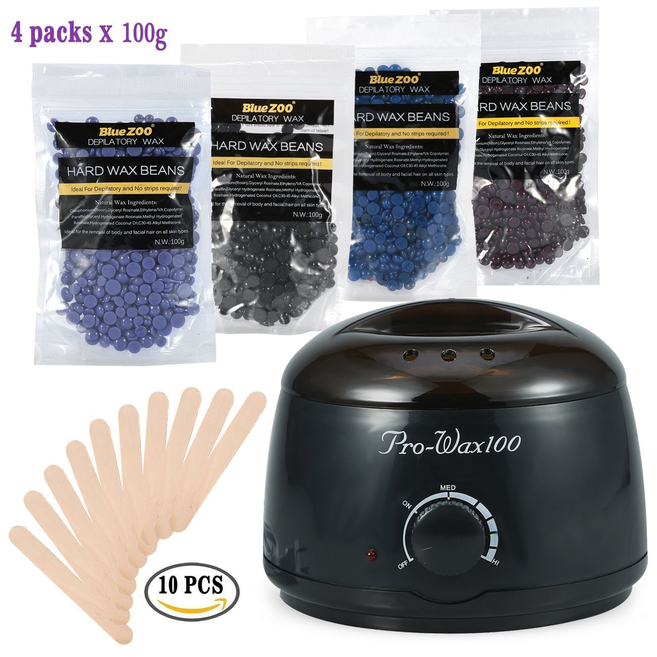 500ML Hair Removal Hot Paraffin Warmer Waxing Heater + 100g/Bag 4 Different Types of Hard Wax Beans Special for Men and Women Depilatory Use (Black) ZJchao