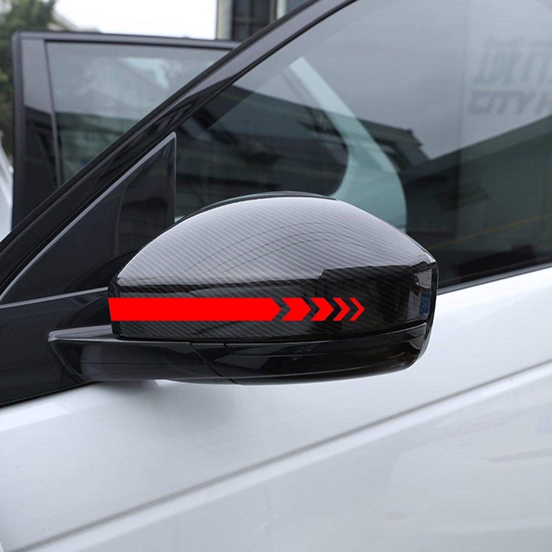Autodomy Pegatinas Espejo Retrovisor Coche con Diseño de Franjas Rayas Flechas Pack de 6 Unidades con Diferentes anchuras para Coche (Rojo)