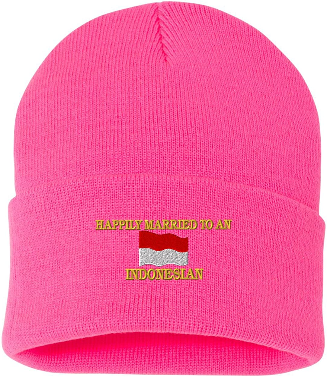 HAPPILY MARRIED TO AN INDONESIAN Custom Personalized Embroidery Embroidered Beanie
