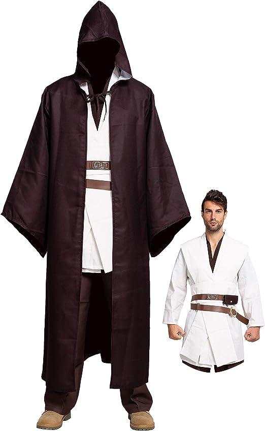 Star Wars Obi-wan Kenobi Jedi  Brown Tunic Hooded Robe Cloak Halloween Costume
