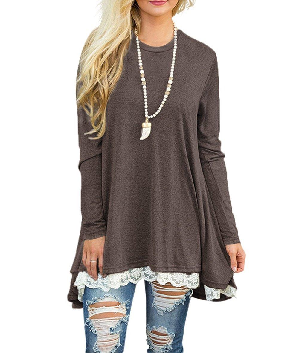 WEKILI Women's Tops Long Sleeve Lace Scoop Neck A-line Tunic Blouse Coffee L/US 12-14