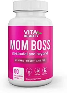 Mom Boss All Natural Post Natal Multivitamin Supplement - Postnatal Vitamins, Hair Growth, Digestive Enzyme, Hormone Balancer- 60 Vegetarian Capsules Included