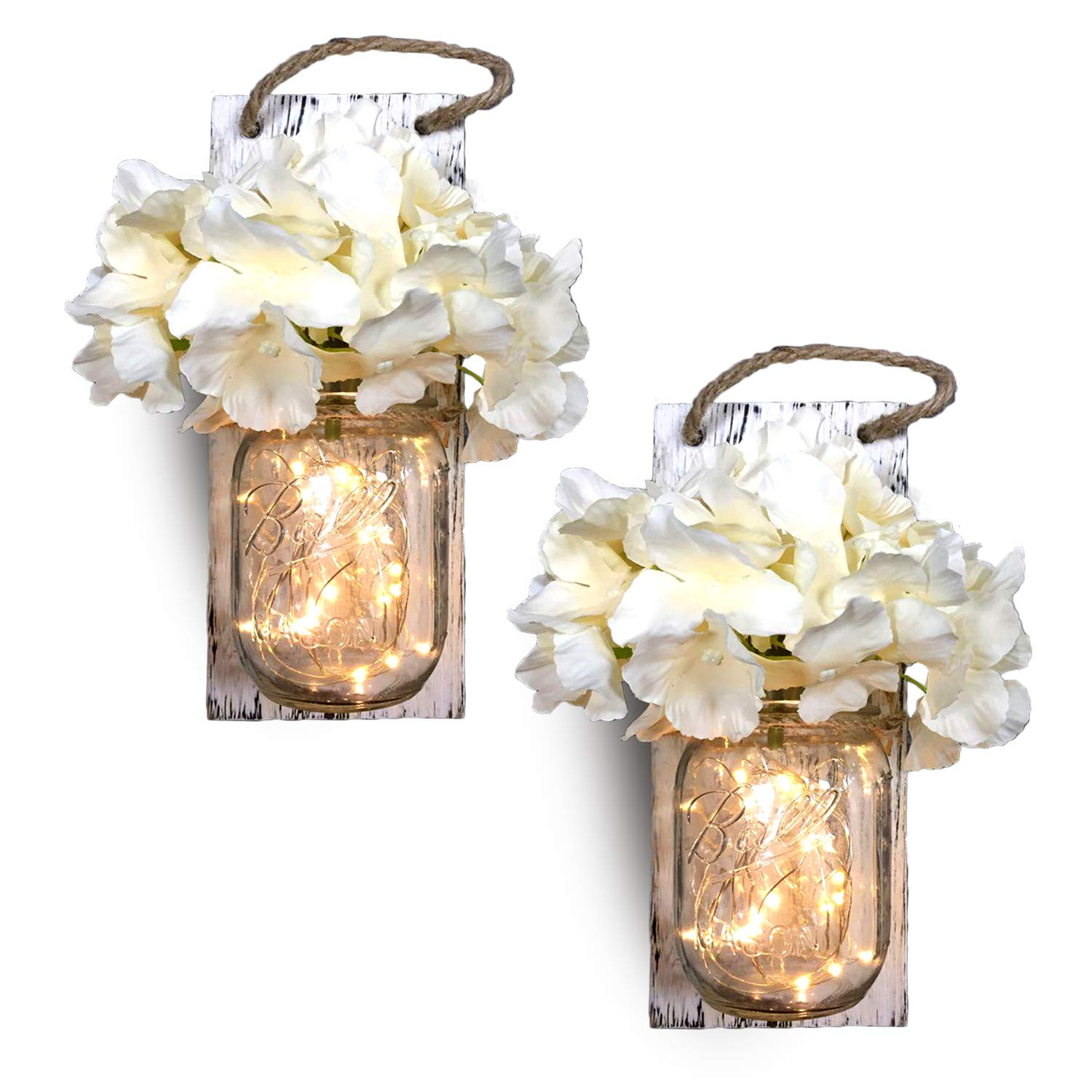 Mason Jar Sconces Wall Decor, Home Wall Decor for Living Room, Country Kitchen Decorations, Bathroom Wall Decor, Rustic Wall Sconce with LED Strip Lights and Hydrangea Flowers (Set of 2) Vintage Decor