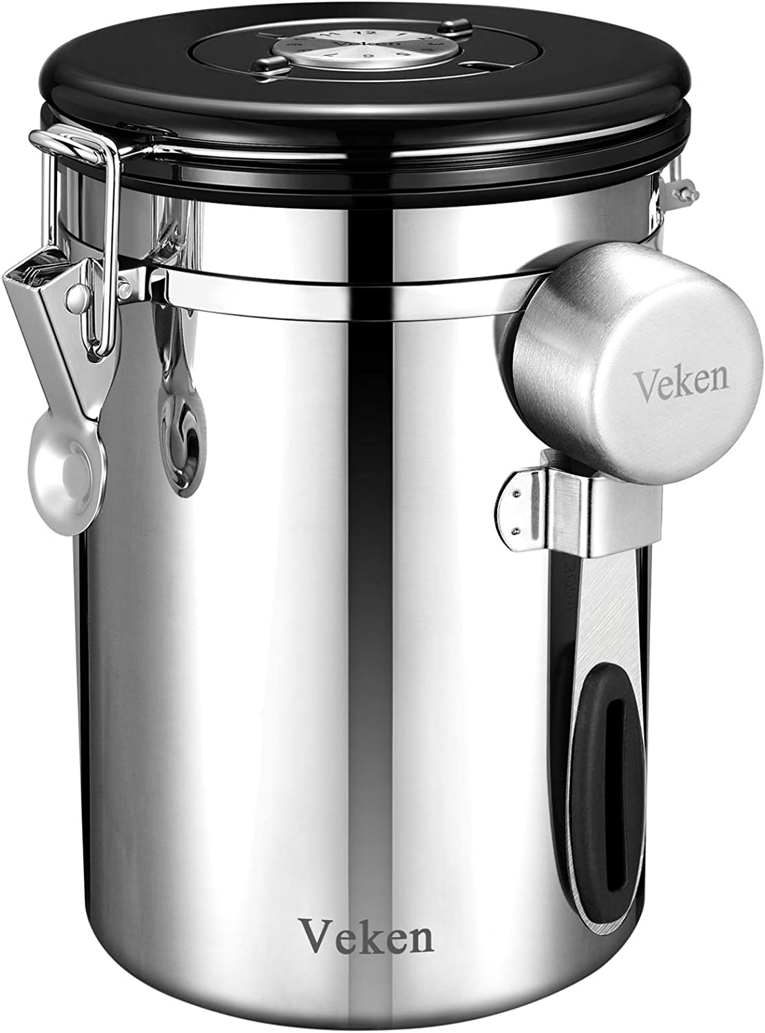 Veken Coffee Canister, Airtight Stainless Steel Food Storage Container with Date Tracker and Scoop for Grounds, Tea, Flour, Sugar, 22oz, Stainless Silver