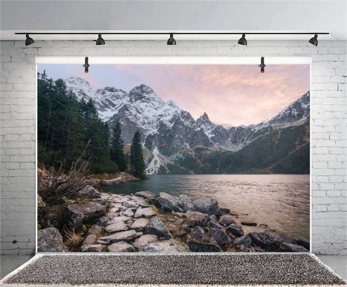 GoEoo 10x7ft Sunrise Lakeside Snow Mountains Rock Road Scenic Vinyl Photography Background Autumn Scenery Backdrop Indoor Decors Landscape Wallpaper Studio Photo Props