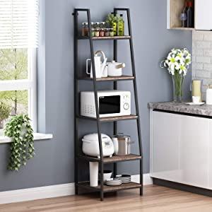 """O&K FURNITURE 5-Shelf Ladder Bookcase, Leaning Bookcases and Book Shelves, Industrial Corner Bookshelf, Home Office Etagere Bookcase-72""""H x 20""""W x 17""""D,Gray-Brown Finish (1-pc)"""
