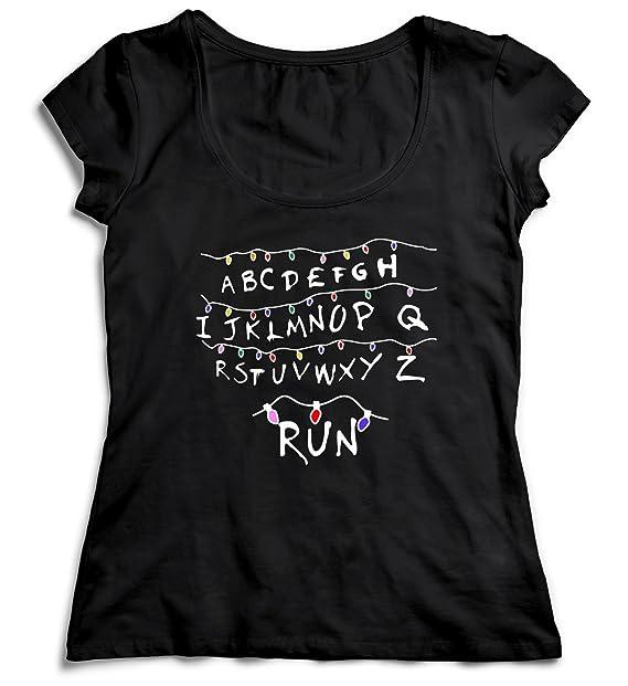 MYMERCHANDISE Run Stranger Things T-Shirt Camiseta Shirt para la Mujer Camisa Negra Womens Women