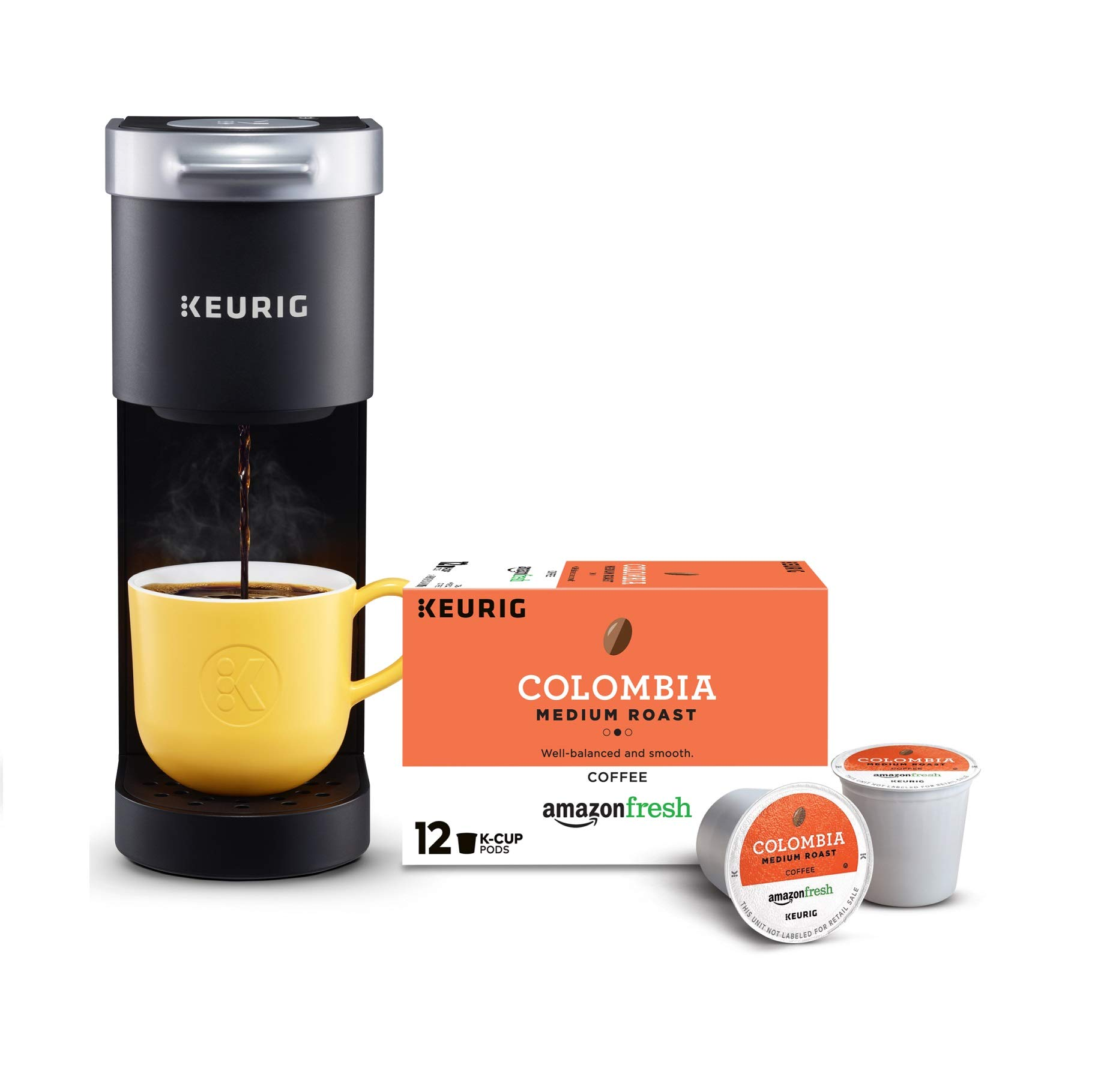 Keurig K-Mini Single Serve Coffee Maker with AmazonFresh 12 Ct. Colombia Medium Roast K-Cup Coffee Pods, 6 to 12 oz Brew Size by Keurig
