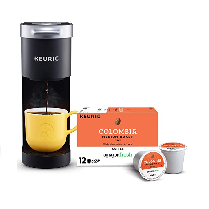 Keurig K-Mini Single Serve Coffee Maker with AmazonFresh 12 Ct. Colombia Medium Roast K-Cup Coffee Pods, 6 to 12 oz Brew Size