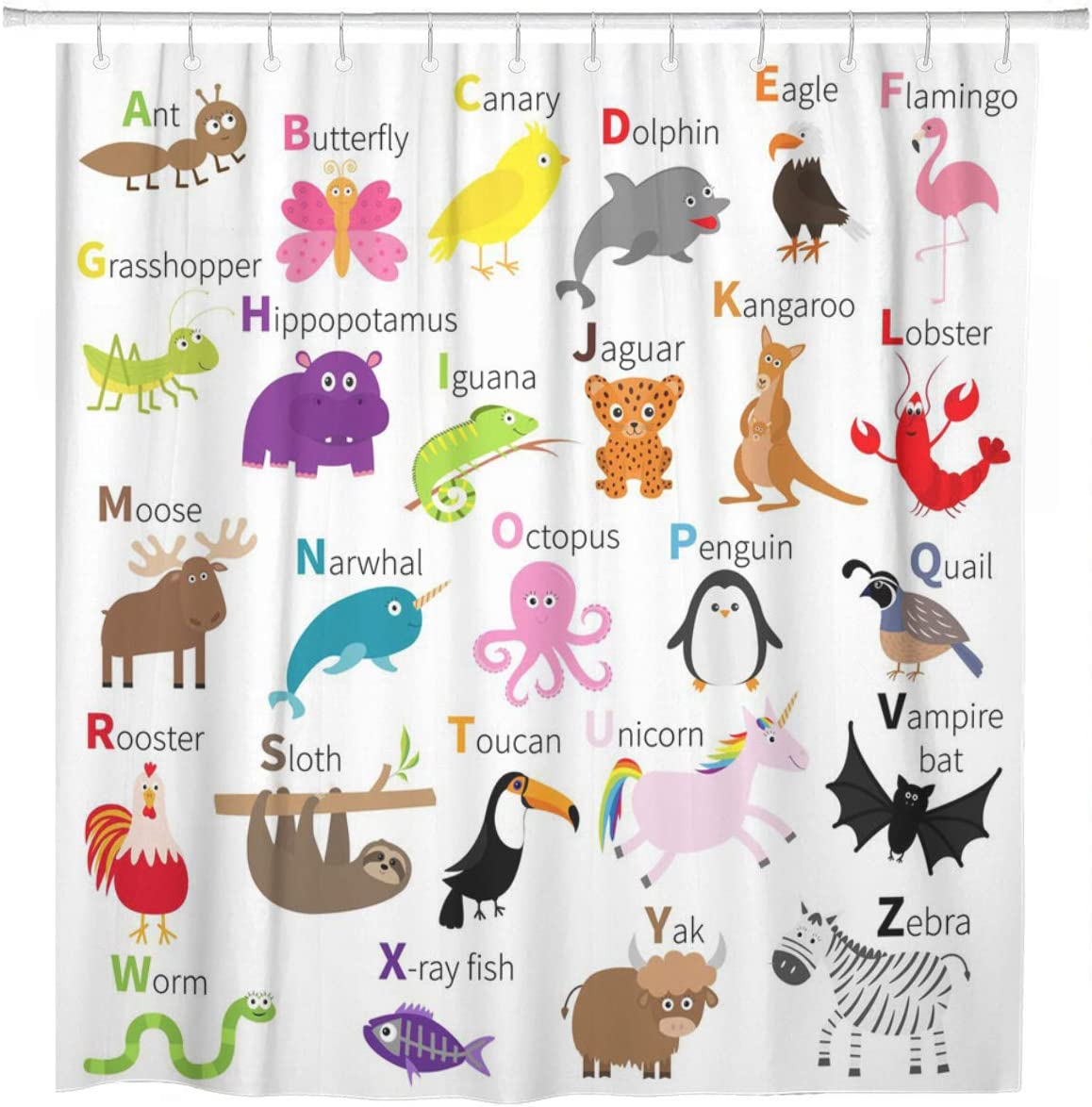 Fun Animal Zoo Alphabet Kids Children Bathroom Set Fabric Shower Curtain Hooks