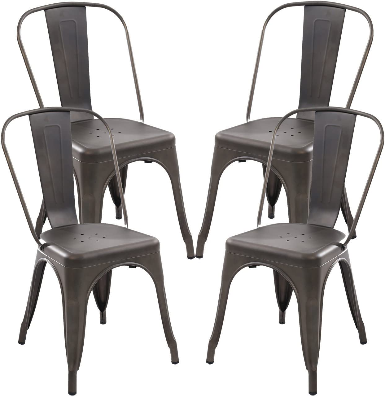 Indoor Outdoor Metal Stackable Chic Dining Bistro Cafe Side Chairs Set of 4 Rusty