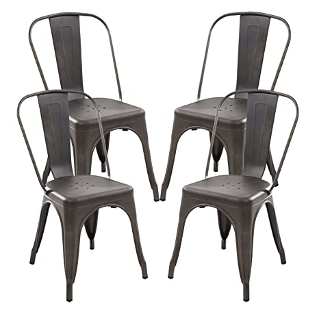 Amazon.com: Polar Aurora Juego de 4 estilo Tolix silla de ...