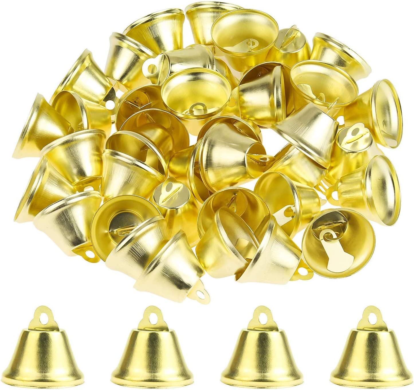 Powlankou 80 Pieces 26mm/1inch Shiny Bells Liberty Bells Decor Bells Craft Bells for Christmas Wind Chimes Making Crafts Decorations