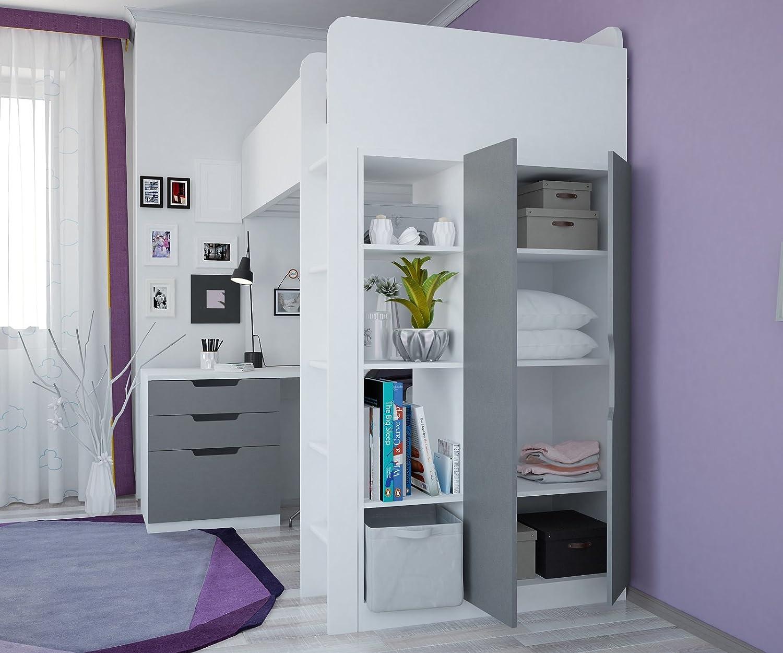 Polini Kids Kinder Hochbett mit Kleiderschrank und Schreibtisch ...