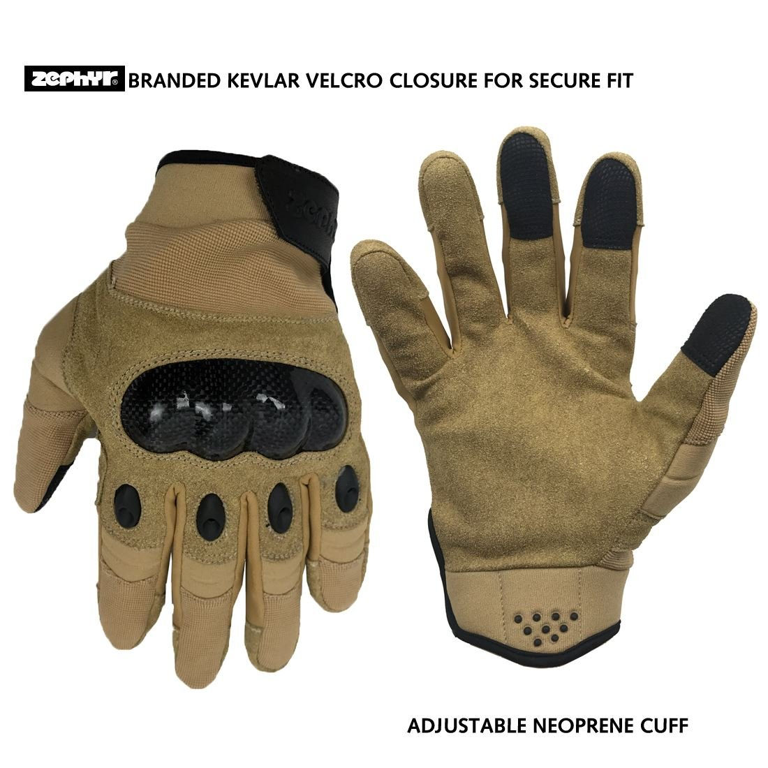 Zephyr Tactical Full Finger Carbon Fiber Knuckle Glovess with Touchscreen Technology - Tan - Medium by Zephyr Tactical