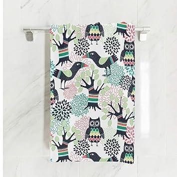 Ahomy - Toalla de baño (81 x 162 cm), diseño de búho y pájaro: Amazon.es: Hogar