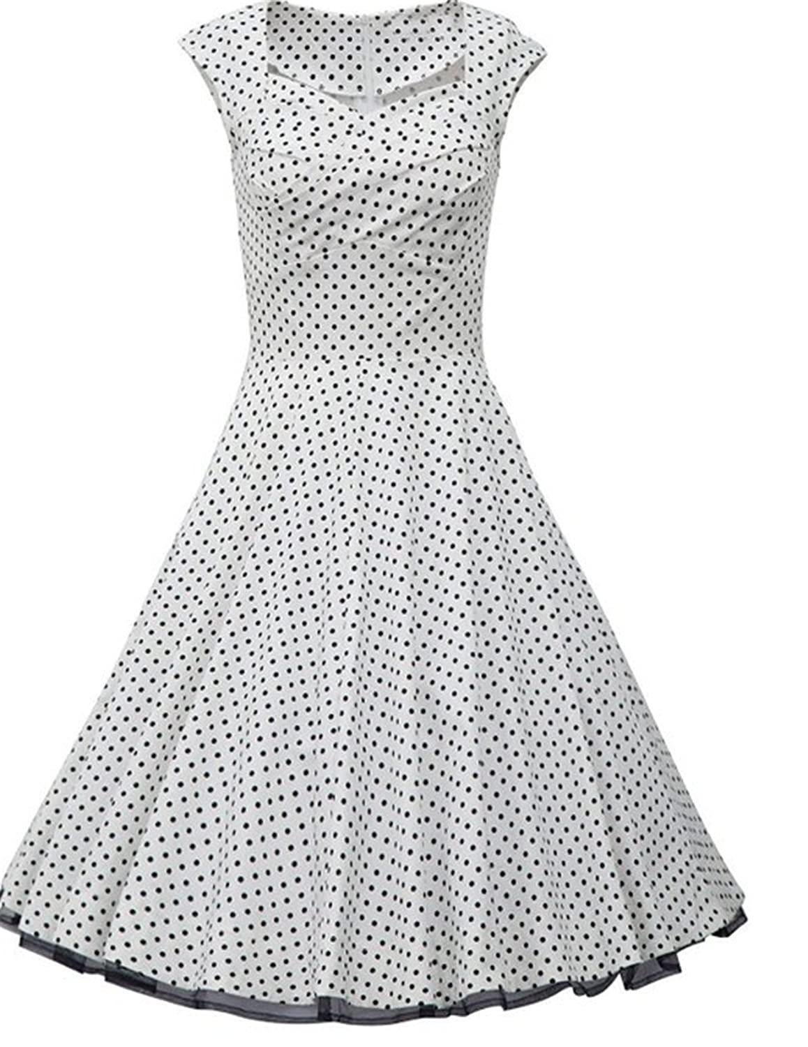 YingLuo Appliques Beaded One-Shoulder Gowns Chiffon Long Evening Dress UK-14 White Polka Dot