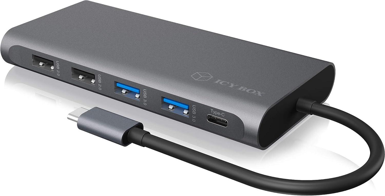 ICY BOX Station daccueil USB-C avec 2 HDMI 100 W Power Delivery USB 3.1 Gen2 1 DisplayPort 1.4 Lecteur de Carte LAN 4X USB