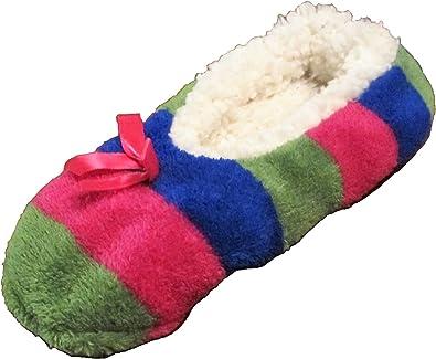 Sz.1-3 Pink /& Green Sherpa Lined SKIDDERS Girls Blue Ballerina Slippers S//M /…