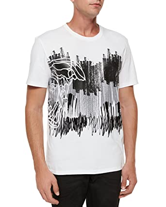 3b16f283faa Image Unavailable. Image not available for. Color  Versace Collection  Scribble Print Half Medusa Graphic T-Shirt ...