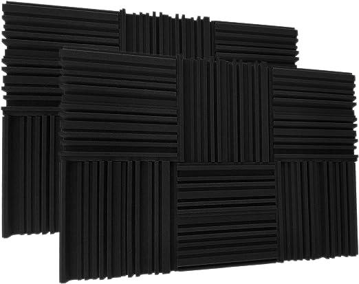 Juego de 12 paneles de espuma acústica, azulejos de cuña de estudio, 2 x 12 x 12 pulgadas de espuma acústica de absorción de sonido para estudios y tratamientos de pared: Amazon.com.mx: Instrumentos Musicales