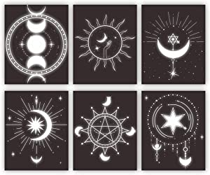 Alchemy Wall Decor Black And White Wall Decor Planets Posters Spiritual Canvas Wall Art For Living Room Bathroom Wall Pictures Decorations For Bedroom Wicca Wall Posters Set of 6 Unframed