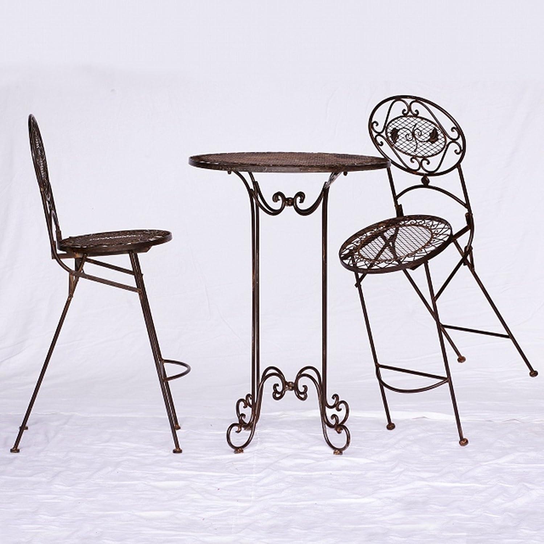 Barset Gartenmöbel Bartisch Barset 1 Tisch & 2 Stühle braun antik Innen & Außen