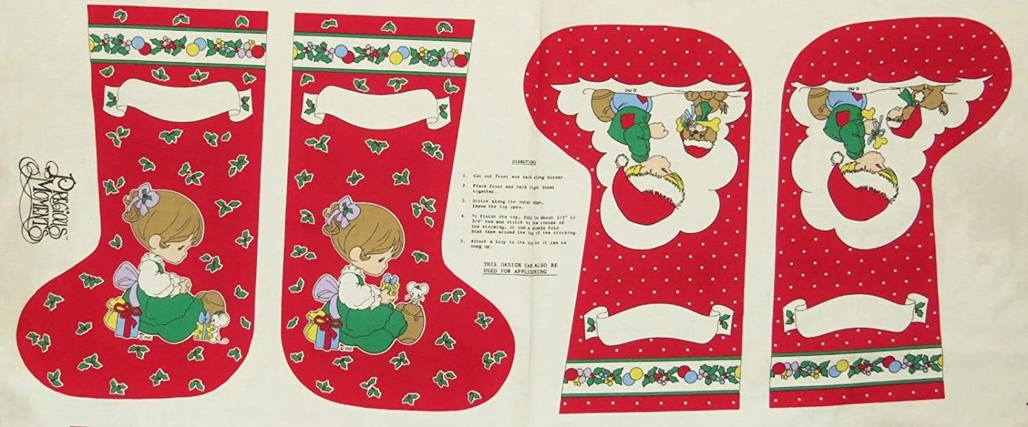 Precious Moments Double Sided Christmas Stocking Fabric Panel (Makes 2 Double Sided Christmas Stockings, or Great for Quilting, Sewing, Craft Projects & More) Makes Two 15.5 Stockings by Precious Moments Specialty Fabrics