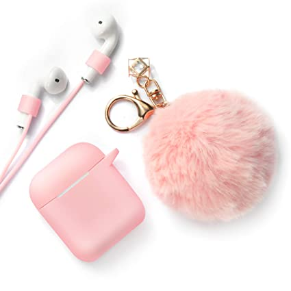 premium selection 427ae e304e Xmifer AirPods Case, Cute Airpods Case Keychain Drop Proof (Silicone Skin  for AirPods Charging Case 2/1) with Fluffy Fur Ball Keychain and Airpods ...